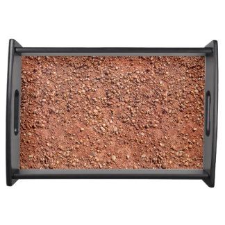Red ochre sand and pebbles serving tray