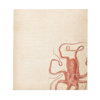Red Octopus Aged Sepia Steampunk Notepad