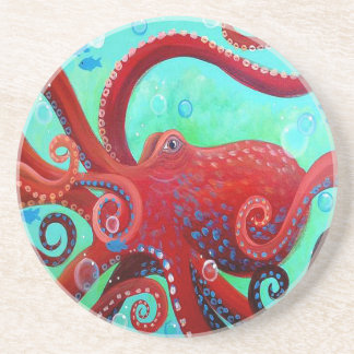 Red Octopus Coaster