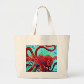 Red Octopus Large Tote Bag
