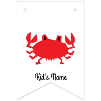Red of sea crab bunting flags