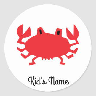 Red of sea crab classic round sticker
