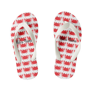 Red of sea crab kid's flip flops