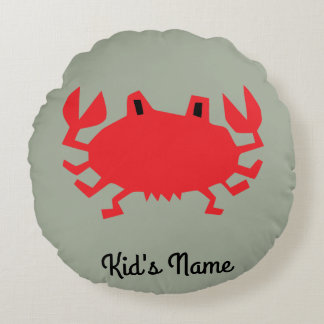 Red of sea crab round pillow