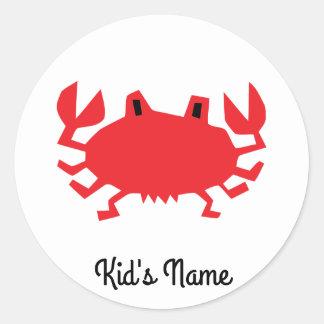 Red of sea crab round sticker