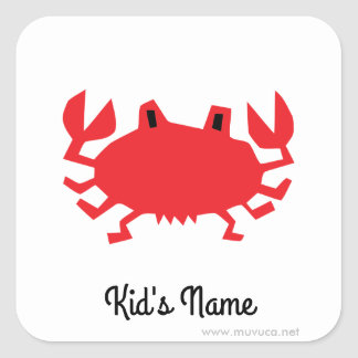 Red of sea crab square sticker