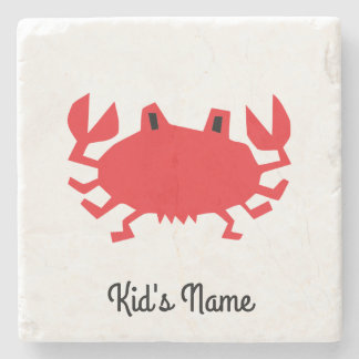Red of sea crab stone coaster