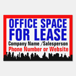 Red Office Space For Lease Sign, Customizable Sign