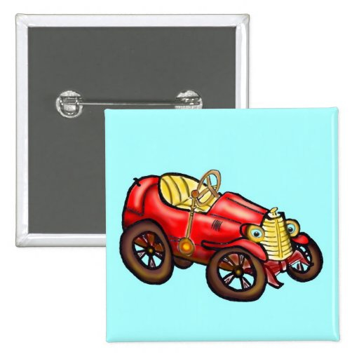 Red old car pinback buttons