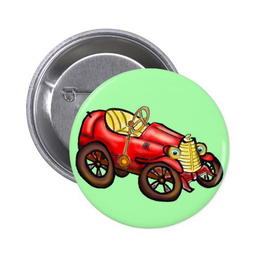 Red old car pinback button