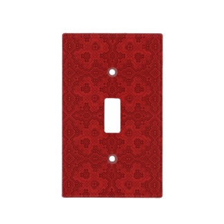 Red Old Tie-up Pattern Light Switch Cover