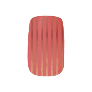 Red Ombre Striped Minx Nail Art