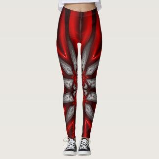 Red on Black Flourished Fractal Design Leggings