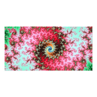 Red on Green Double Fractal Spiral Photo Cards