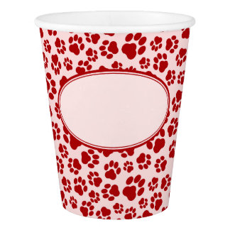 Red-on-Pink Paw Print Paper Cup