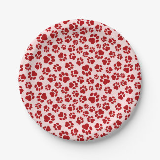 Red-on-Pink Paw Print Paper Plate