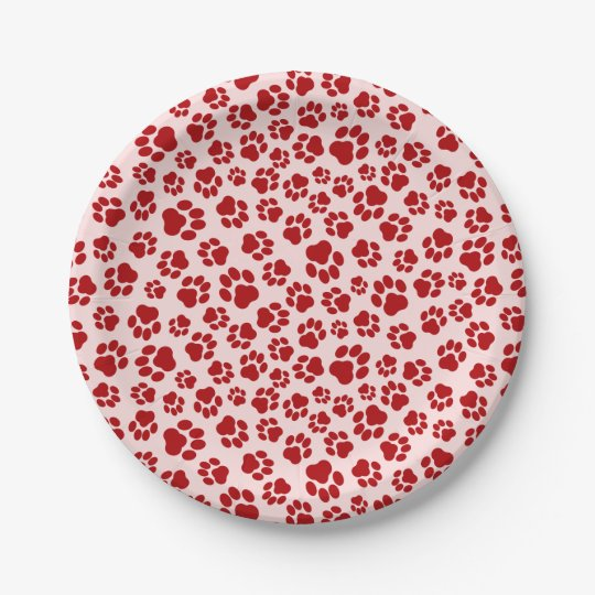 Red-on-Pink Paw Print Paper Plate 7 Inch Paper Plate
