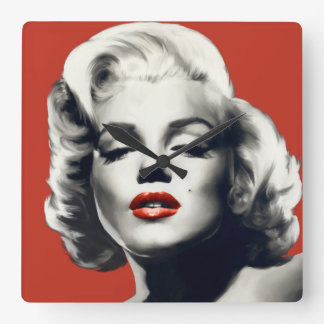 Red on Red Lips Marilyn Square Wall Clock