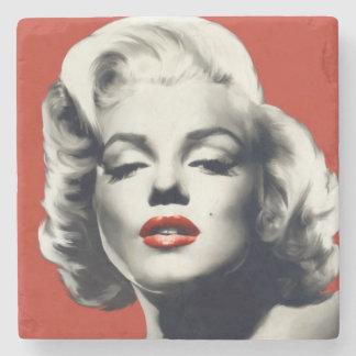 Red on Red Lips Marilyn Stone Coaster