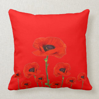 RED ON RED POPPIES ART THROW PILLOW