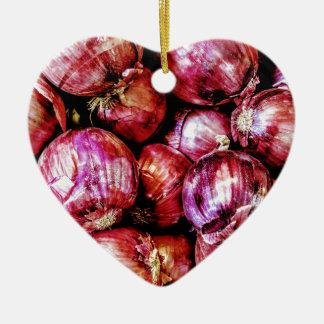 Red Onion Ceramic Heart Ornament