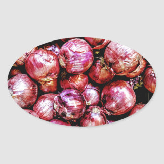 Red Onion Oval Sticker