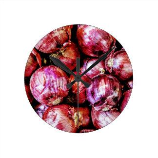 Red Onion Round Clock