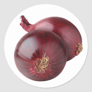 Red onion round sticker