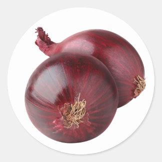 Red onion round sticker