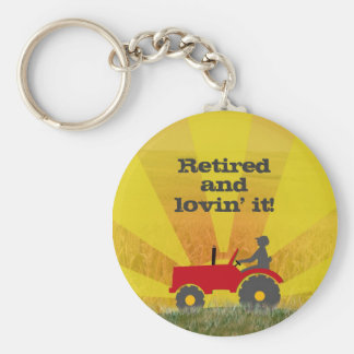 Red or Green Retirement Tractor Keychain