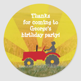 Red or Green Tractor Party Favor Bag Sticker