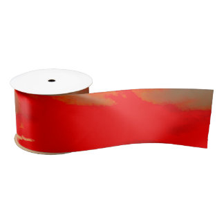 Red Orange Abstract Sunset 1 Satin Ribbon