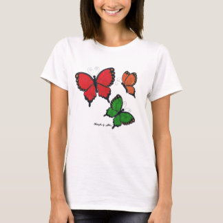 Red, orange and green butterflies by Jillian T-Shirt
