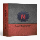 Red Orange and Grey Leather Binder