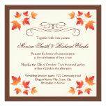 Red orange autumn leaves elegant fall wedding custom invitations