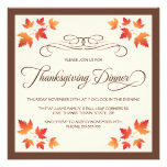 Red orange autumn leaves thanksgiving dinner announcements