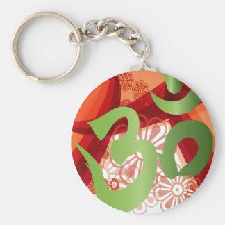Red-Orange-Bg_Green-Om Keychain