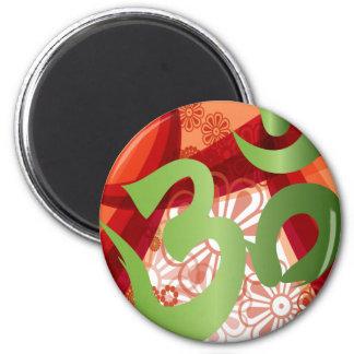 Red-Orange-Bg_Green-Om Magnet