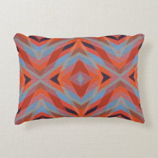 Red Orange Blue Geometric Knitted Look Decorative Pillow