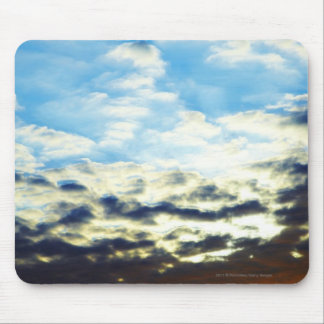 Red Orange Blue Sunset with Clouds Mouse Pad
