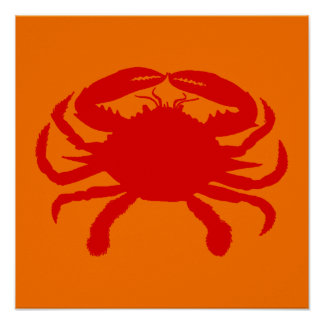 Red Orange Crab Poster