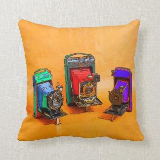 Red Orange Dahlia Garden Throw Pillows