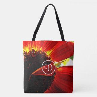 Red orange daisy close-up photo custom monogram tote bag