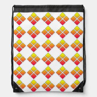 Red Orange Diamond drawlstring backpack