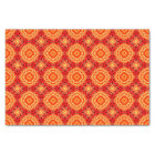 Red Orange Floral Octagon and Diamonds Pattern Tissue Paper