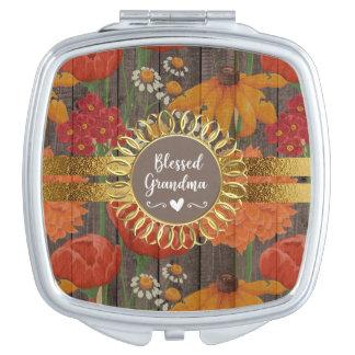 Red Orange Floral Rustic Wood Blessed Grandma Travel Mirror