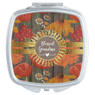 Red Orange Floral Rustic Wood Blessed Grandma Vanity Mirror