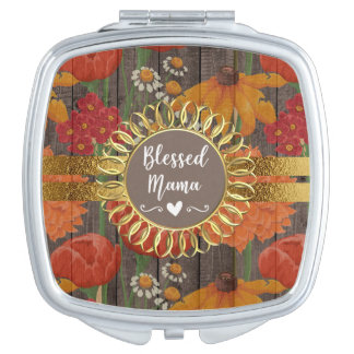 Red Orange Floral Rustic Wood Gold Blessed Mama Compact Mirrors