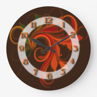 Red/ Orange Flourish Large Clock