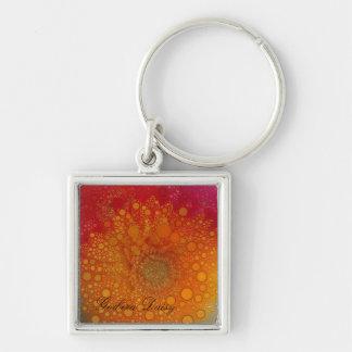 Red Orange Gerbera Daisy Pop Art Silver-Colored Square Keychain